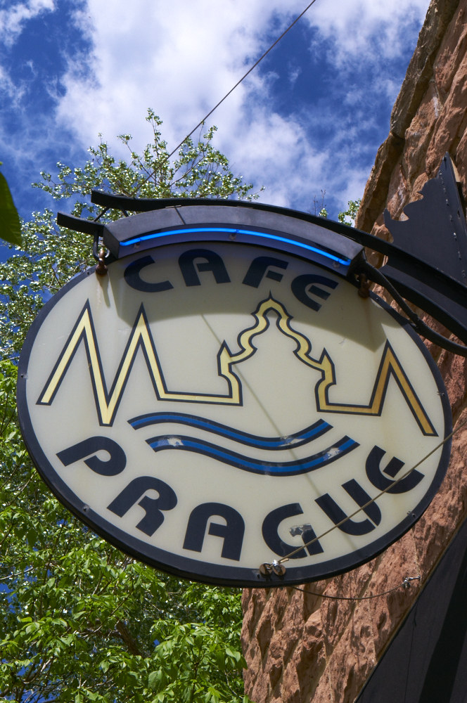 Photo of Cafe Prague's Sign.